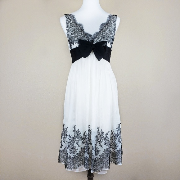 Melinda Eng Dresses & Skirts - Melinda Eng Black & White Lace Bow 100% Silk Dress